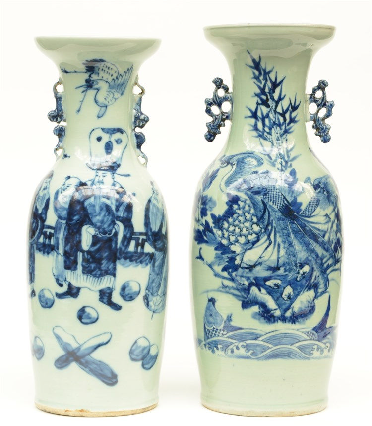 Two Chinese celadon ground blue and white vases, one decorated with Immorta