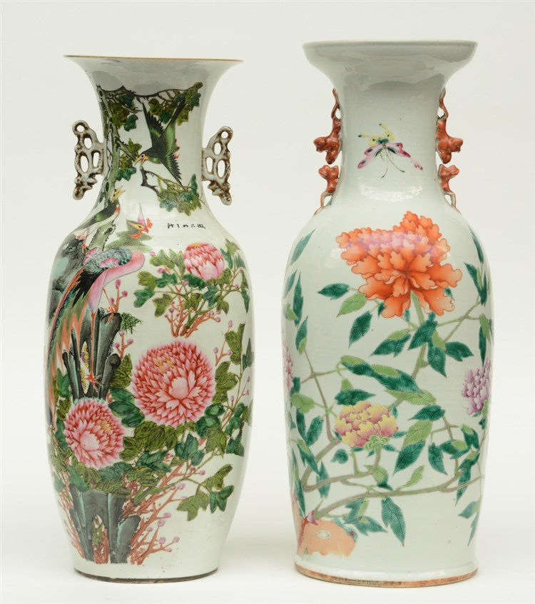 Two Chinese polychrome vases, decorated with flower branches, birds and but