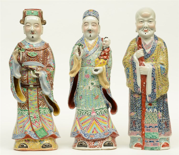 Three Chinese polychrome decorated 'Fu Lou Shou Xing' figures, marked, ca.