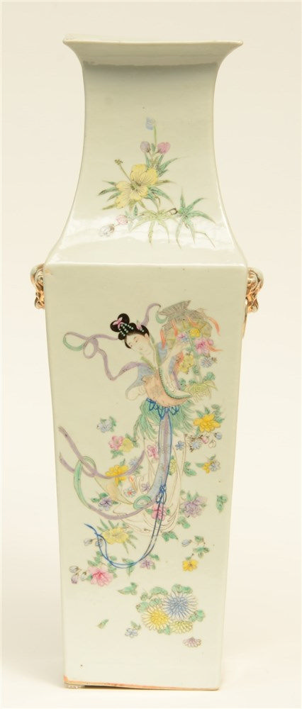 A Chinese quadrangular polychrome vase, decorated with figures and a deer,