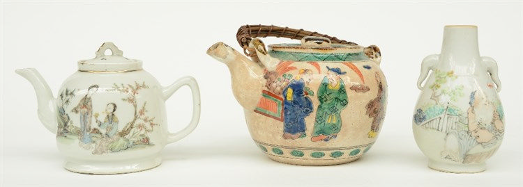 A Chinese polychrome teapot and vase, decorated with figures, marked, 19thC