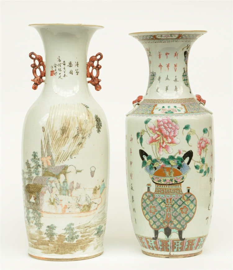 A Chinese polychrome vase, painted with river scenes with figures on boats,