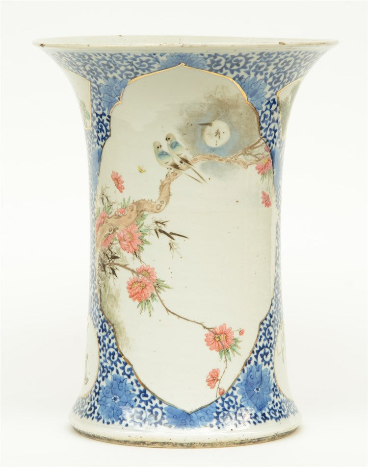 A Chinese blue and white vase, the roundels polychrome decorated with birds