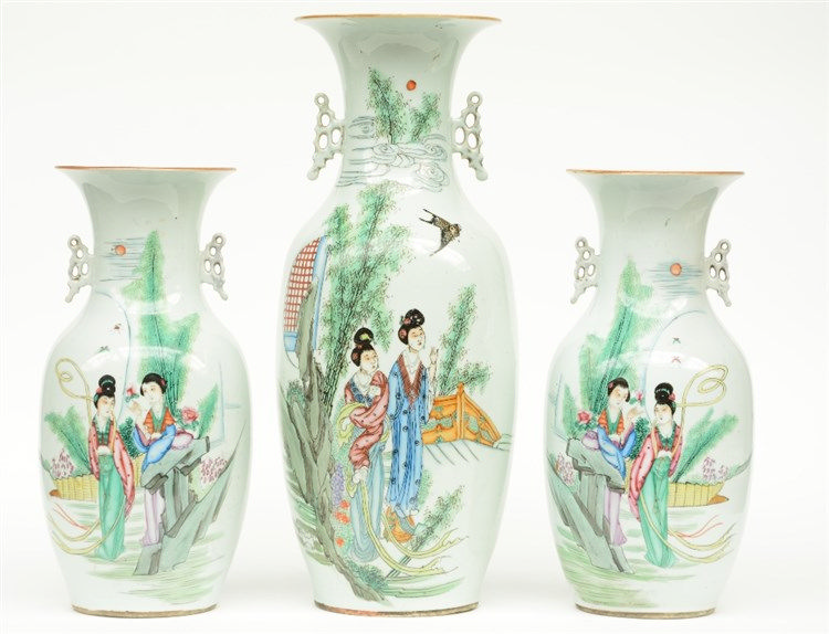 A pair of Chinese polychrome vases, decorated with a galant scene; added a
