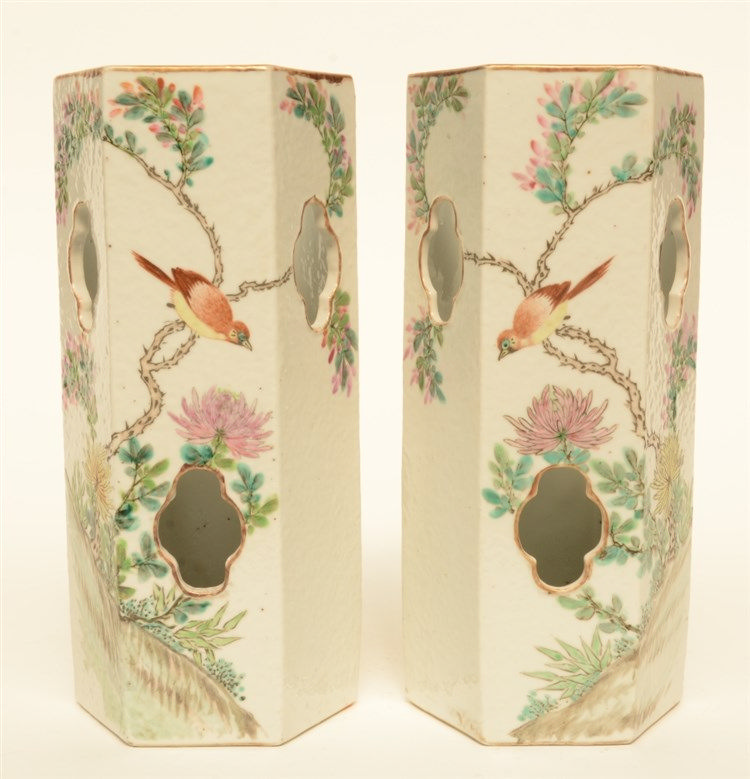 A fine pair of Chinese hexagonal polychrome hat stands, decorated with a bi