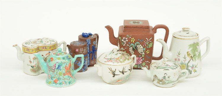 Five Chinese polychrome decorated teapots, some marked; added two Chinese r