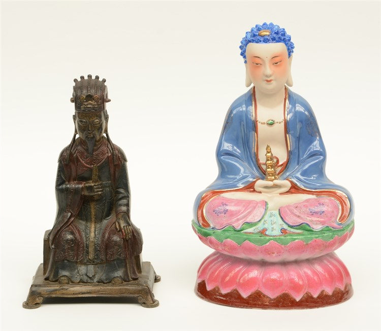 A Chinese bronze Buddha; added a ditto Buddha in polychrome decorated porce