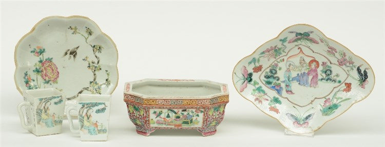 Two Chinese famille rose plates and a jardinière, decorated with flower bra