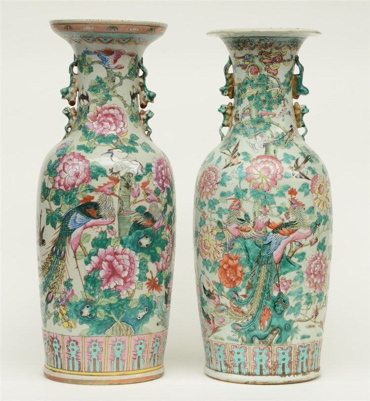 Two 19thC Chinese famille rose vases, decorated with phoenix and birds on f