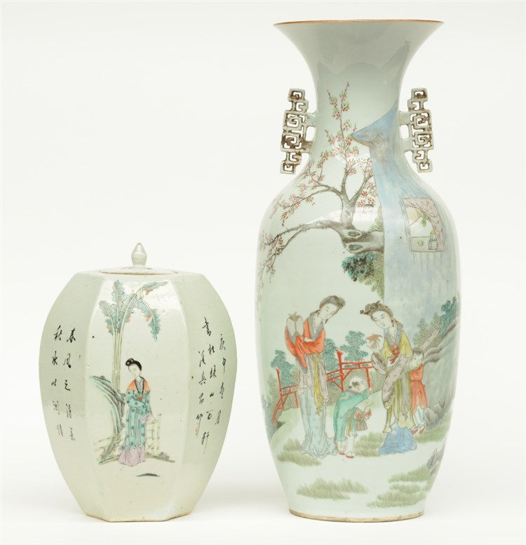 A Chinese polychrome vase, decorated with two ladies and children in a gard
