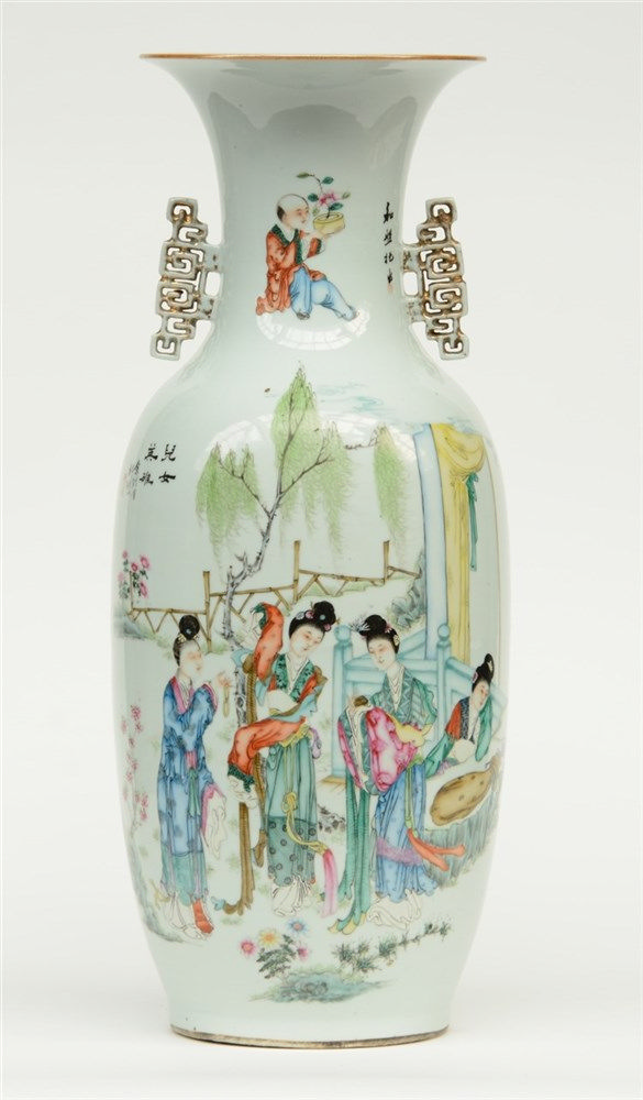 A Chinese polychrome vase, one side painted with a galant scene, the other