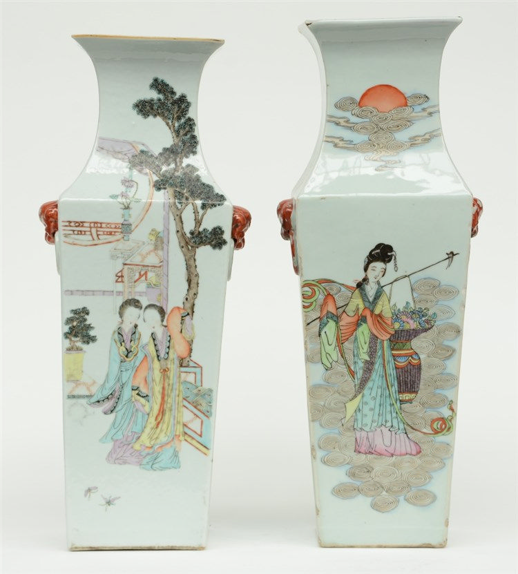 Two Chinese quadrangular polychrome vases, painted with ladies and children