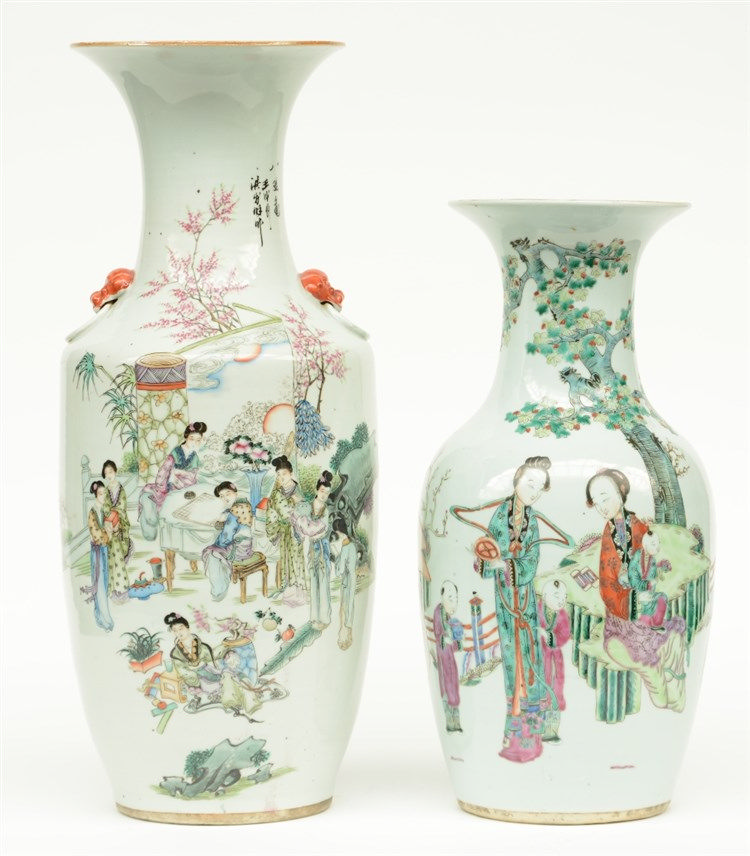 Two Chinese polychrome vases, one painted with a galant garden scene, the o