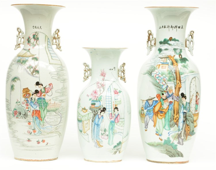 Three Chinese polychrome vases, painted with animated scenes, H 42,5 - 57,5
