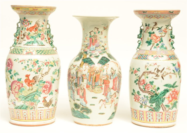 Three Chinese famille rose vases, one painted with the Eight Immortals, two