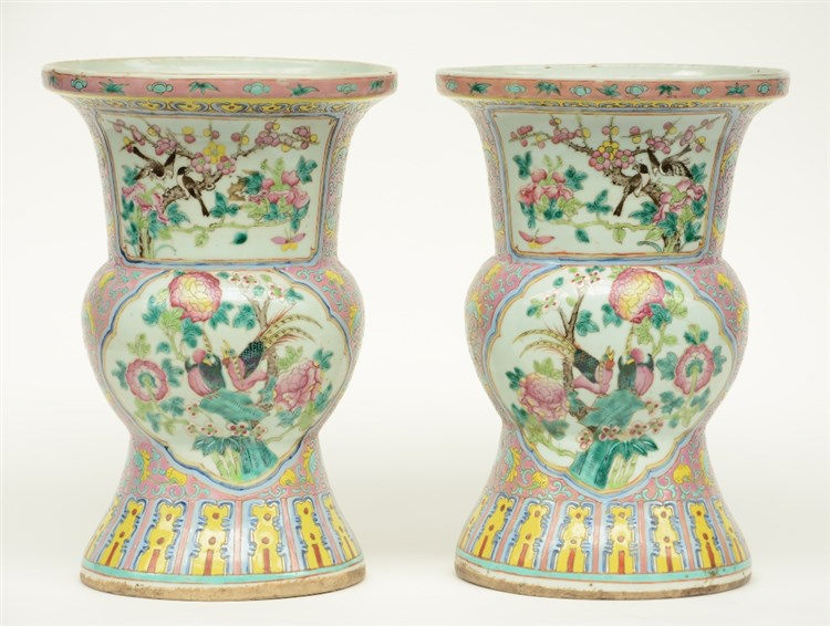 A pair of Chinese famille rose beaker vases, decorated with phoenixes and b
