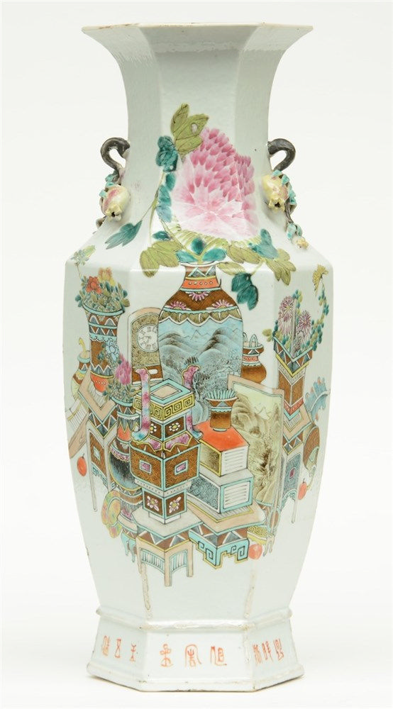 A Chinese hexagonal polychrome vase decorated with vases of flowers and ant