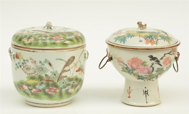 A Chinese bowl and cover and ditto recipient, polychrome decorated with flo