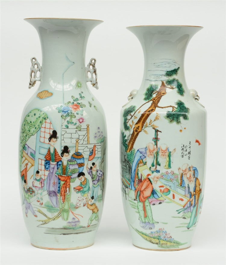 Two Chinese polychrome vases, one painted with sages, the other painted wit