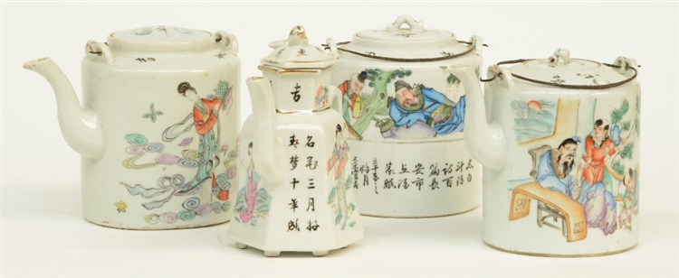 Four Chinese polychrome teapots and covers, decorated with animated scenes,