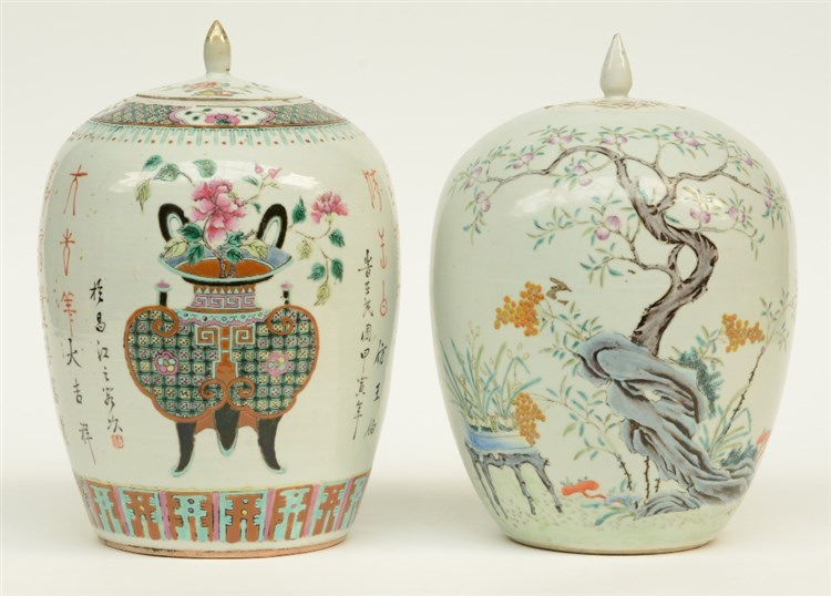 Two Chinese famille rose and polychrome ginger pots and covers, decorated w