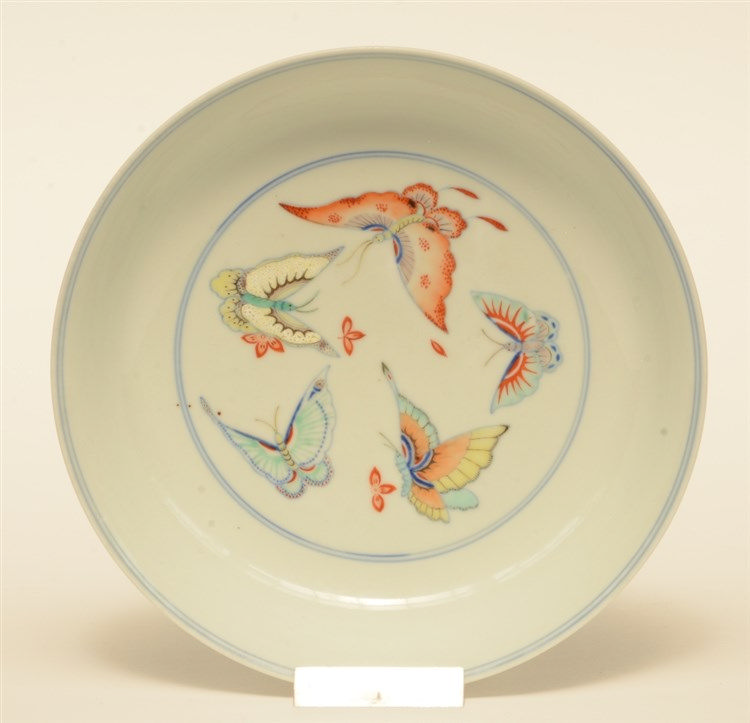 A Chinese doucai dish, decorated with butterflies, marked Yongzheng, probab