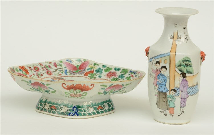 A Chinese famille rose plate, the roundel decorated with an animated scene,
