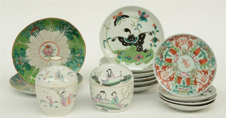 A lot of Chinese famille rose and polychrome decorated dishes and saucers,