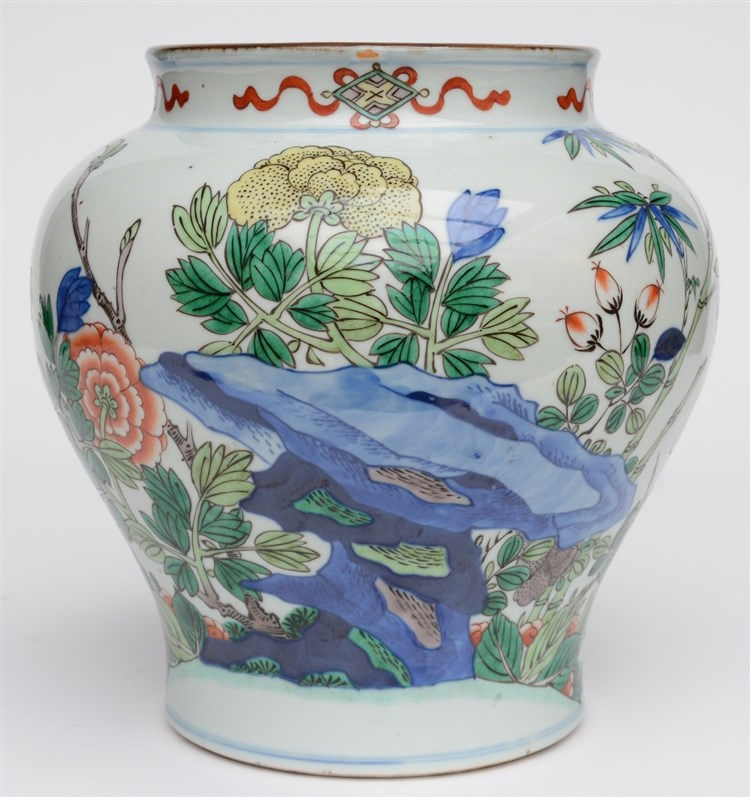 A Chinese famille verte decorated vase, H 27cm (a hole in the bottom)
