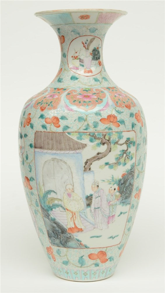 A Chinese famille rose vase, floral relief moulded, the panels with animate