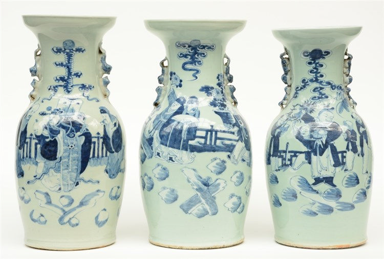 Three Chinese celadon ground blue and white vases, decorated with animated