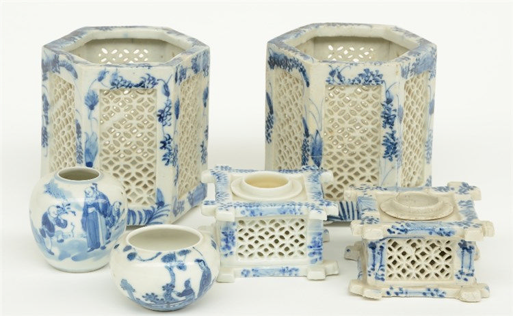 A pair of Chinese hexagonal blue and white incense burners and a pair of in