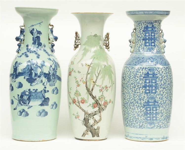 Two Chinese celadon ground blue and white decorated vases, one with the Eig