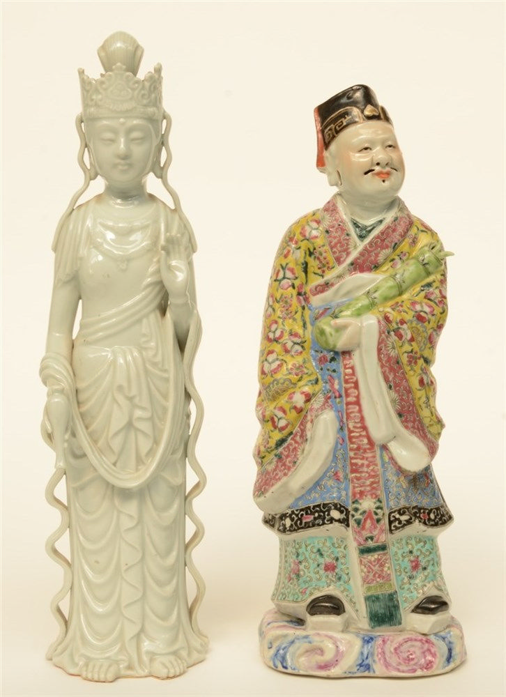 A Chinese polychrome decorated Sage, ca. 19thC; added 'Blanc de Chine' Guan