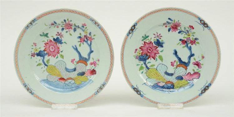 Two Chinese famille rose dishes, decorated with flower branches on a rock,