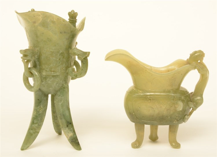 Two Chinese archaistic jade ewers, H 14 - 20 cm