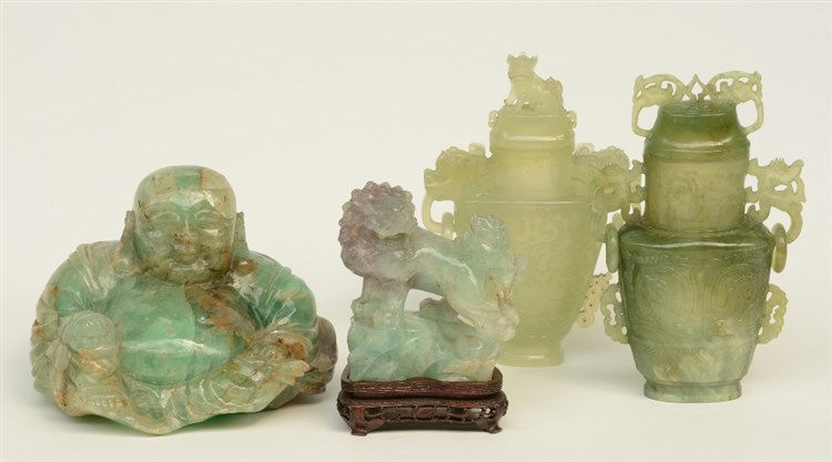Two Chinese archaistic jade vases and covers; added a Chinese green quartz
