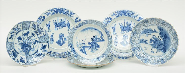 Six Chinese blue and white plates and dishes, decorated with animated scene
