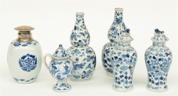 Two Chinese blue and white calabash vases and two vases and covers, decorat
