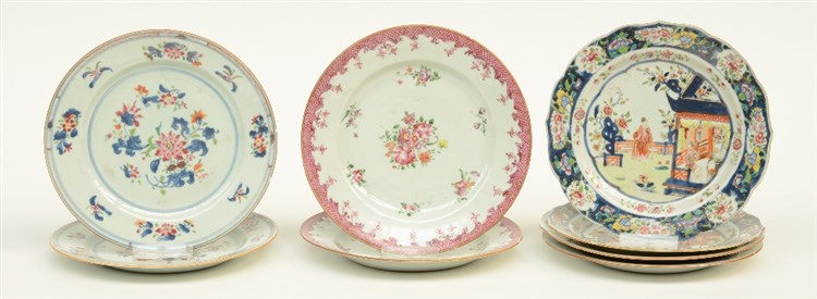 Six Chinese famille rose dishes, decorated with a garden scene and floral m