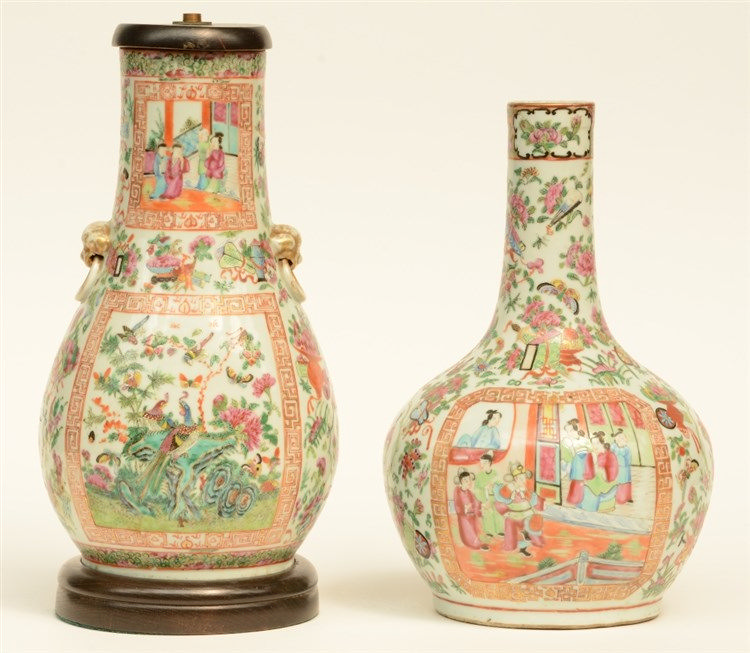 A Chinese Kanton bottle vase and pear shaped vase, famille rose, decorated