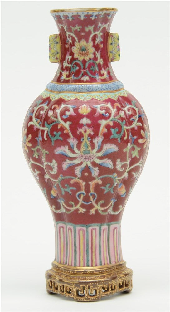 A Chinese famille rose wall vase, marked, H 21,5 cm