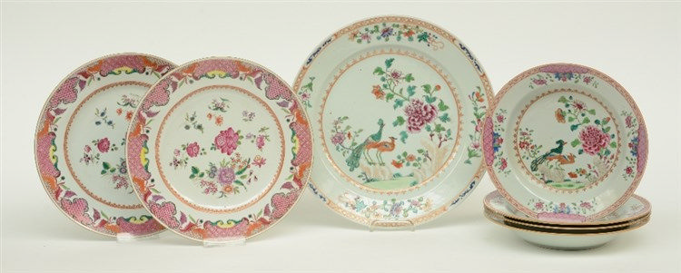 Seven Chinese famille rose plates and dishes, exportporcelain, decorated wi