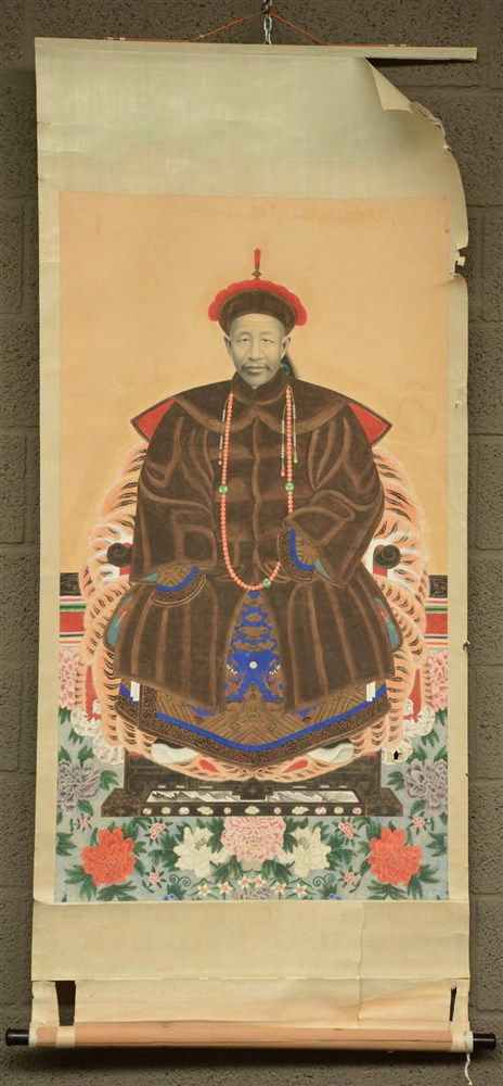 A Chinese ancestor portrait, watercolor on paper, 19thC, 76,5x163,5 cm (dam