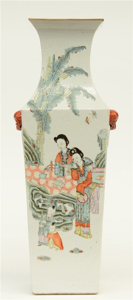 A Chinese quadrangular polychrome vase, decorated one side with ladies and