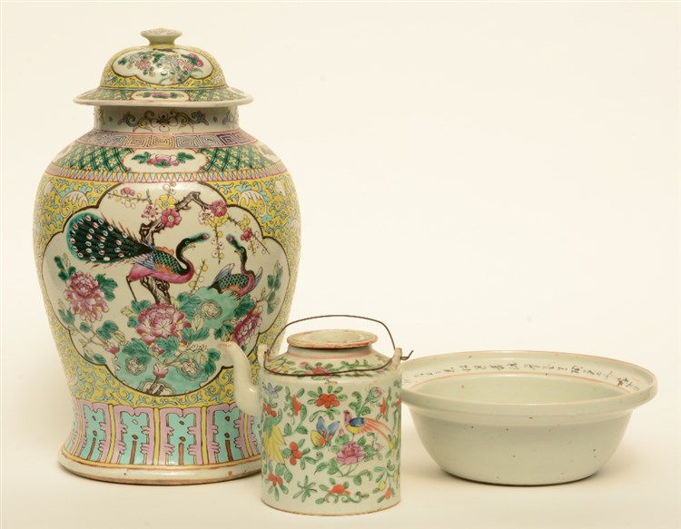 A Chinese famille rose and polychrome decorated with phoenixes, birds, flow