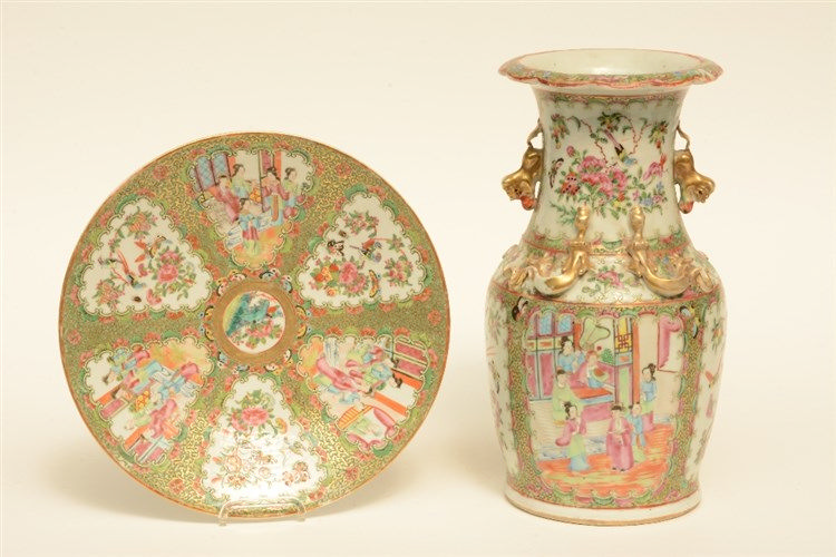 A Chinese Canton vase and plate, famille rose decorated with court scenes a