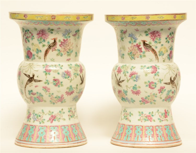 A pair of Chinese famille rose Gu vases, decorated with birds and flower br