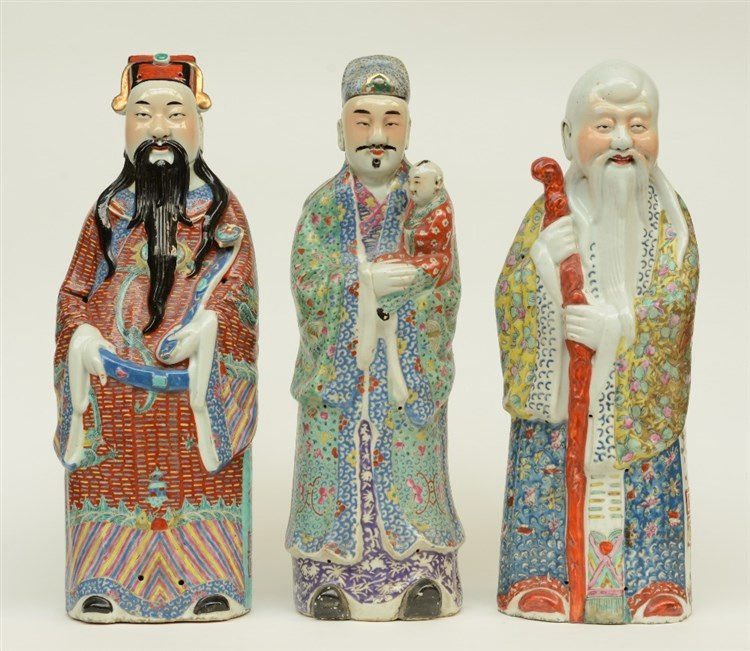 Three Chinese polychrome decorated 'Fu Lu Shou Shing' figures, marked, ca 1
