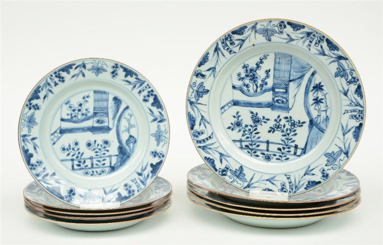 Ten Chinese blue and white dishes, decorated with floral motifs and gardens